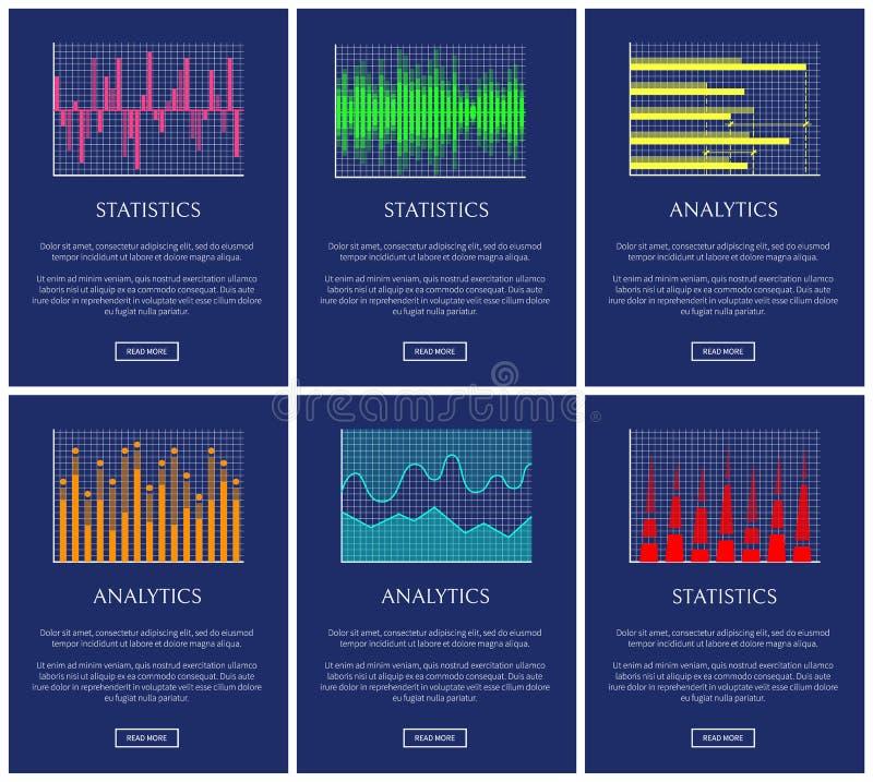 Estatísticas e analítica, coleção dos gráficos da cor ilustração stock
