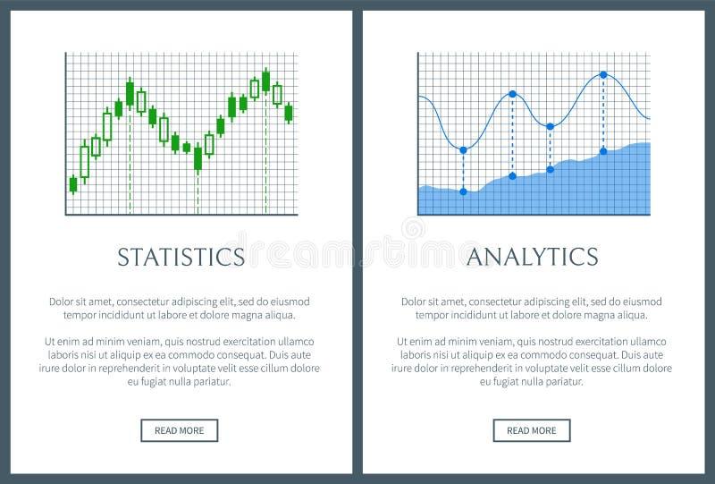 Estatísticas e cartazes brilhantes da informação da análise dois ilustração do vetor