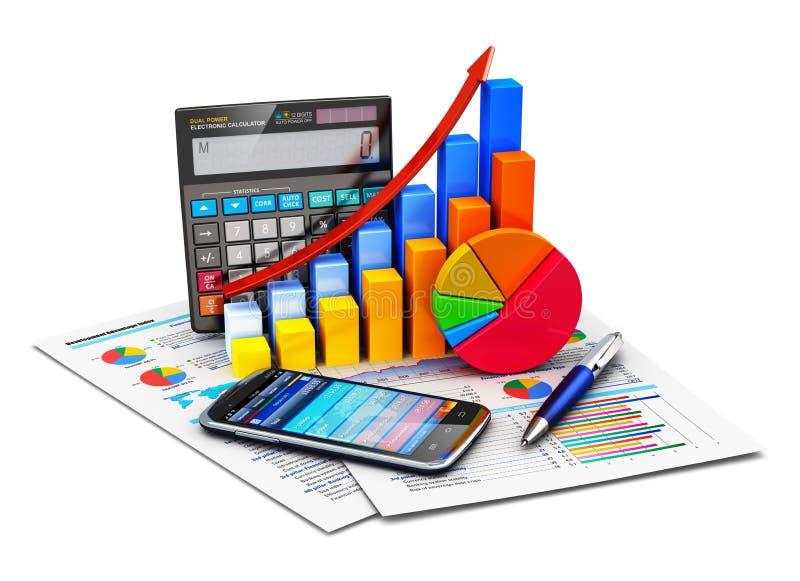 Estatísticas e conceito de contabilidade financeiros ilustração stock