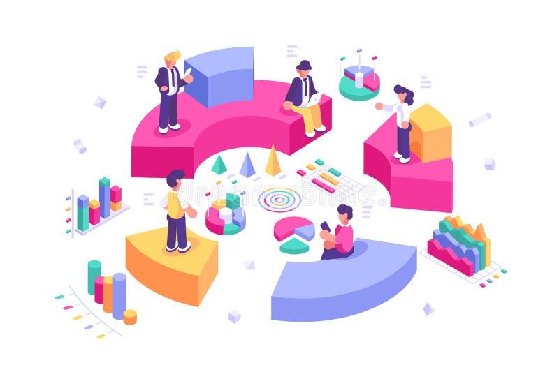 Estatísticas e indicação do negócio ilustração stock