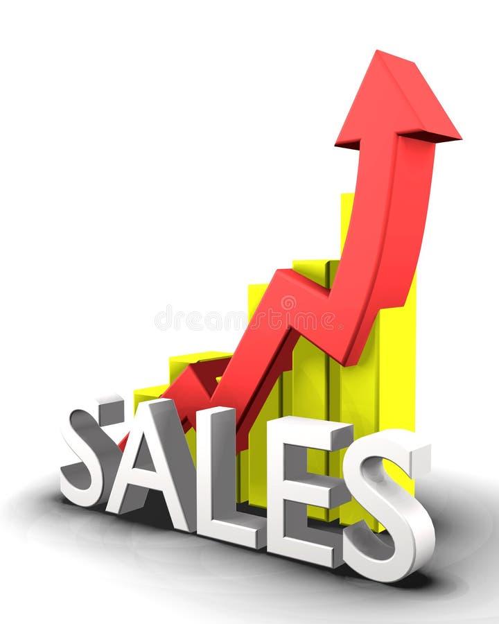 Estatísticas gráficas com palavra das vendas ilustração stock