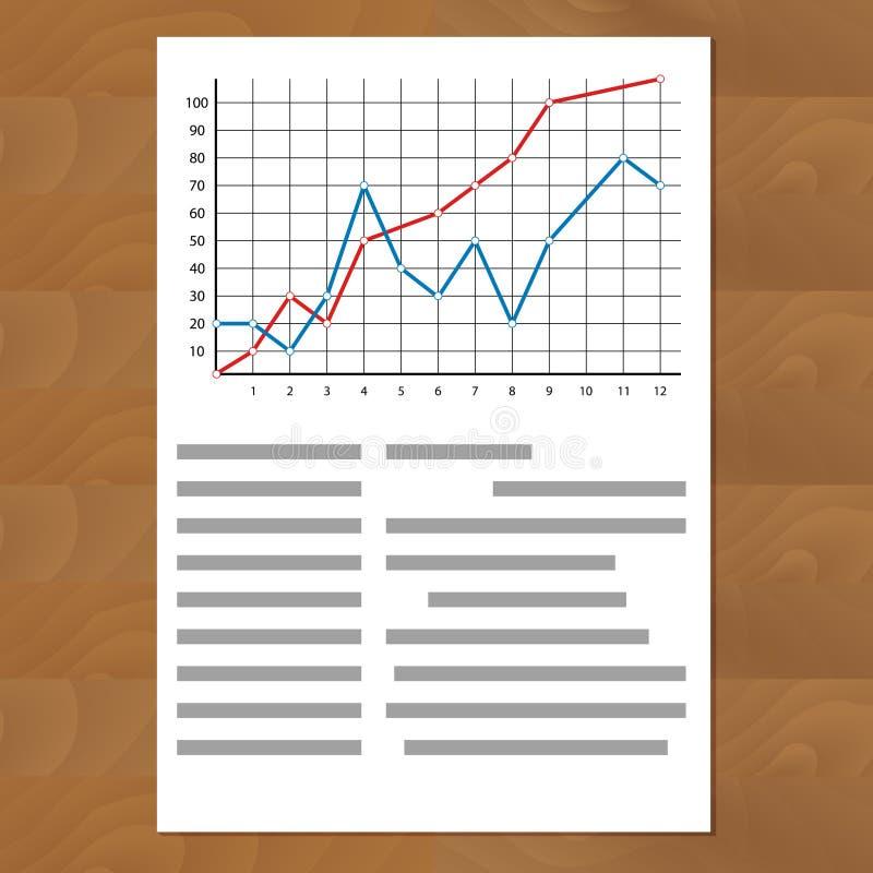 Estatísticas que comparam curvas do gráfico ilustração stock