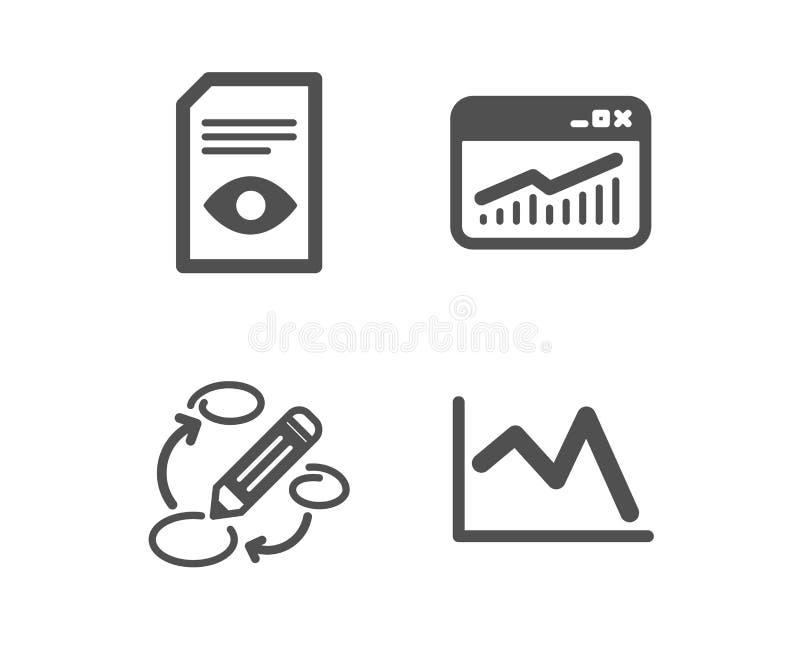 Estat?sticas das palavras-chaves, do Web site e de documento da vista ?cones Linha sinal da carta Vetor ilustração stock