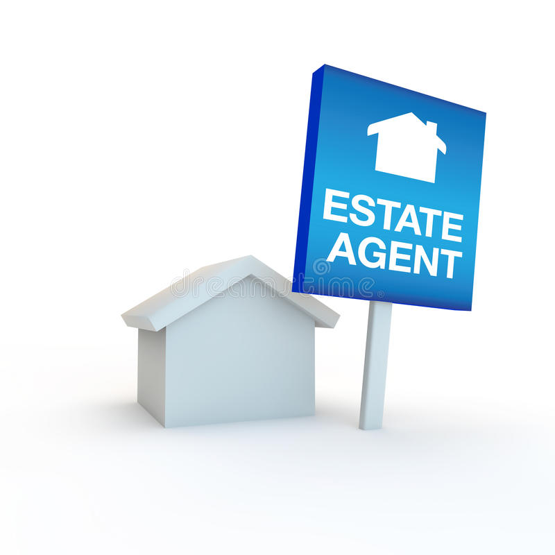 Estate agent icon or symbol with a sign outside a home. 3d render of a housing concept vector illustration