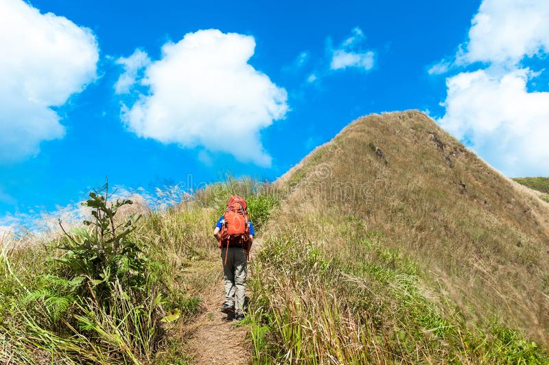 Estate che fa un'escursione nelle montagne, parco nazionale Thaila di Thongphaphum fotografia stock