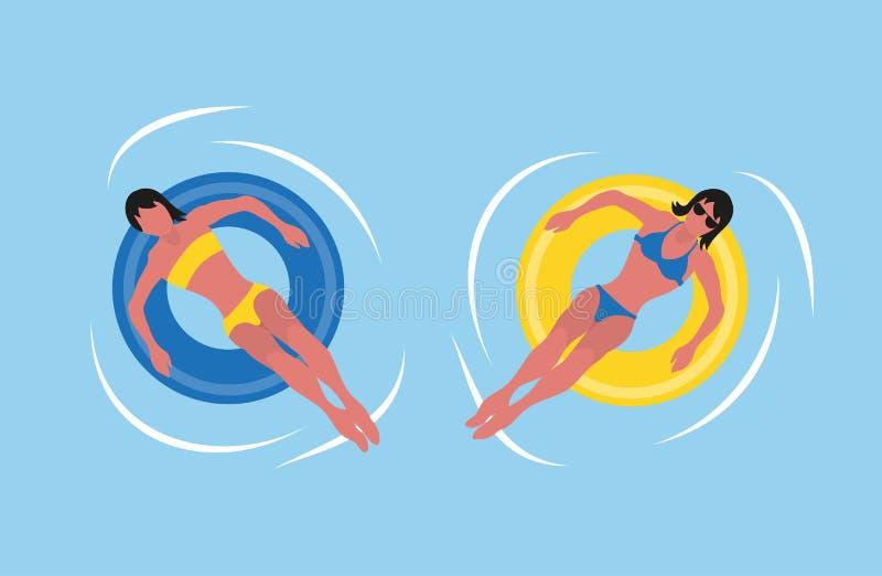 Estate, costume da bagno del bikini delle donne, anello gonfiabile royalty illustrazione gratis
