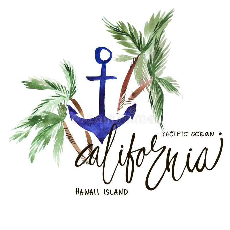 Estate d'annata California dell'acquerello, stampa dell'oceano Pacifico con progettazione di tipografia, le palme e l'iscrizione  illustrazione di stock