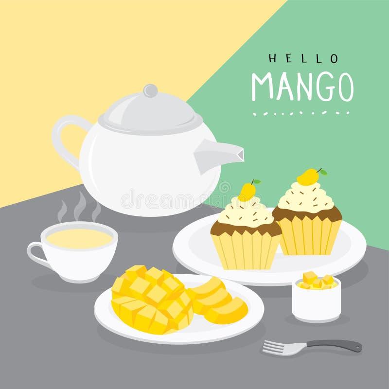 Estate del mango e bigné del mango con il vettore del tè della frutta fotografia stock