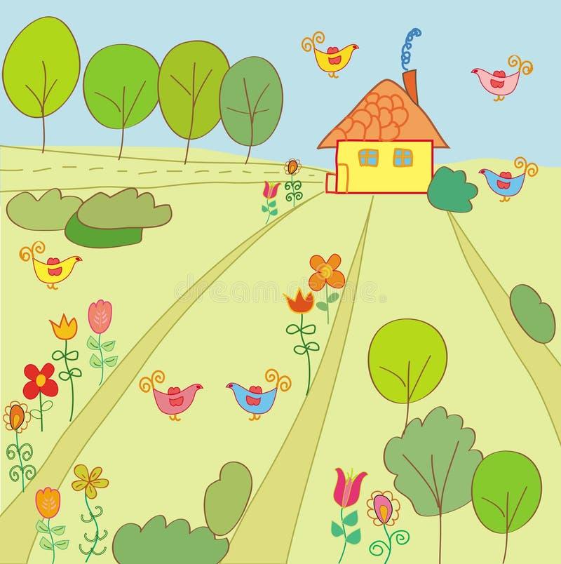 estate di paesaggio della casa illustrazione vettoriale