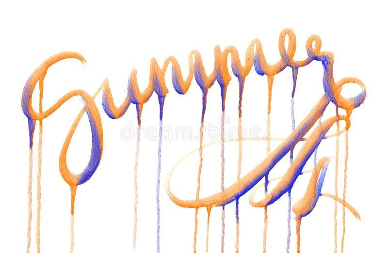 Estate di parola disegnata dall'acquerello blu ed arancio su fondo bianco illustrazione di stock