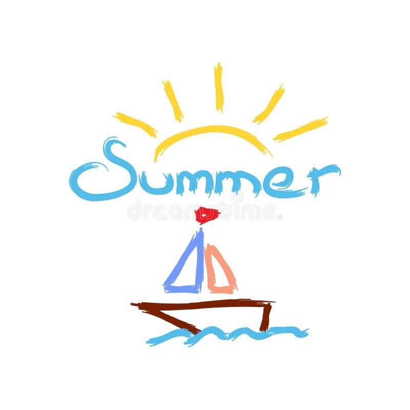 Estate di Sun, della barca a vela e del testo dipinta con la spazzola dell'acquerello schizzo disegnato a mano Illustrazione di v illustrazione di stock