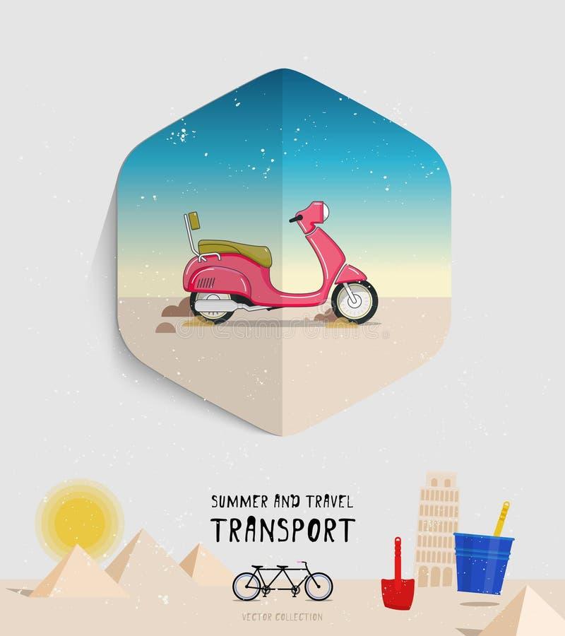 Estate di vettore ed icona di trasporto di viaggio piano illustrazione vettoriale