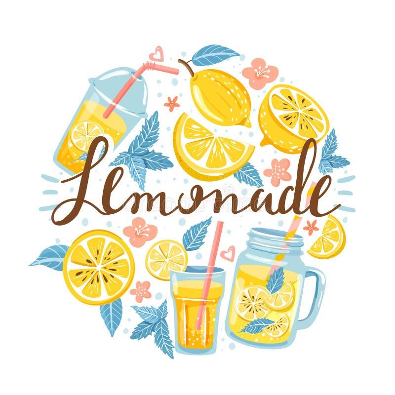 Estate fissata con il limone, la fetta del limone, la menta, il fiore, il barattolo con limonata e l'iscrizione illustrazione di stock