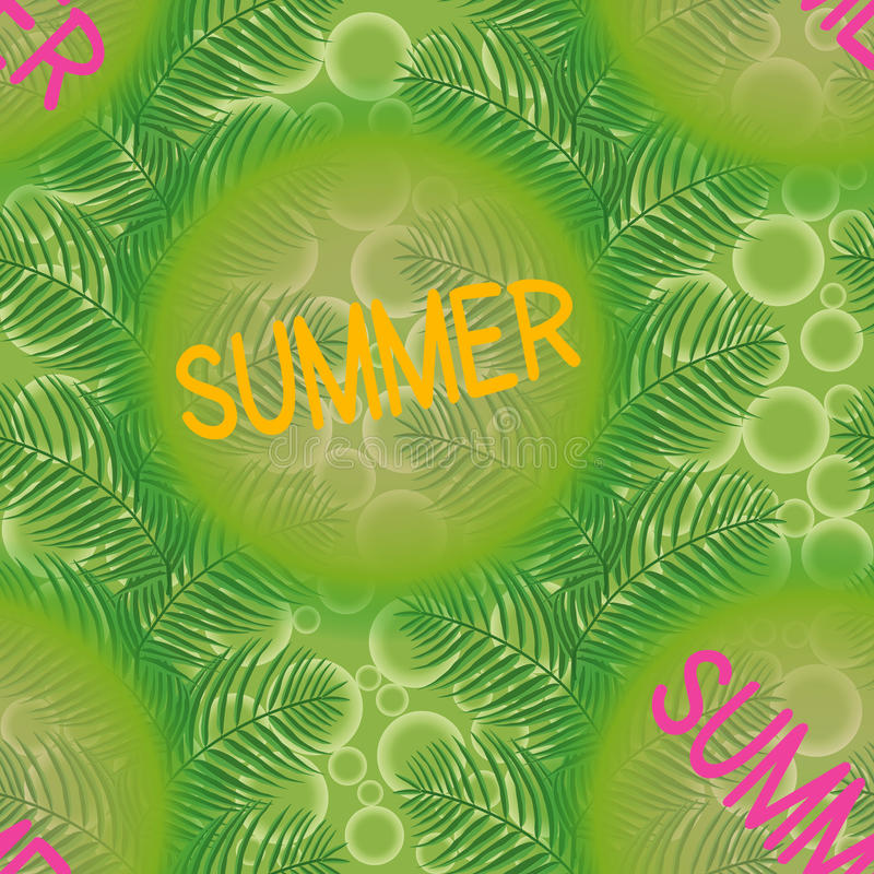 Estate, foglie di palma su un fondo verde con i cerchi immagine stock