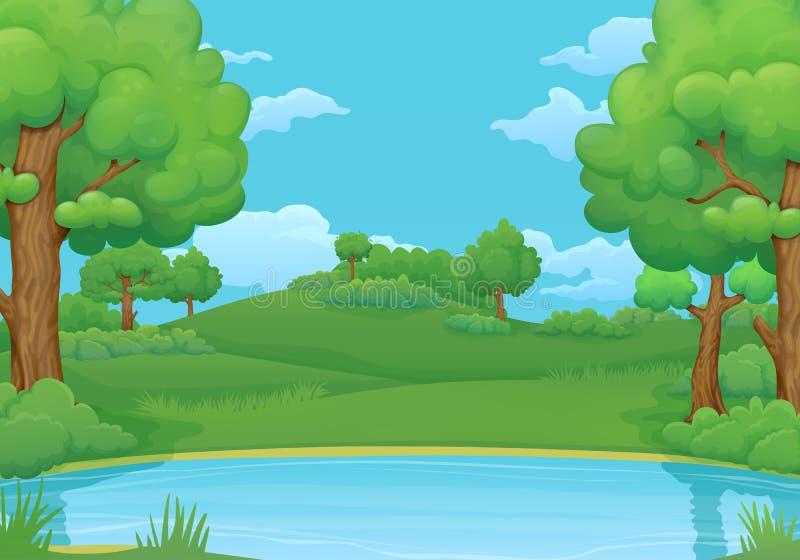 Estate, fondo di giorno di molla Lago o fiume con gli alberi ed i cespugli verdi fertili illustrazione vettoriale