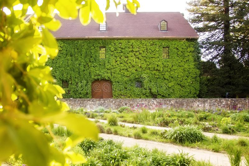 Estate home. Winery estate napa ivy French country architecture stock image