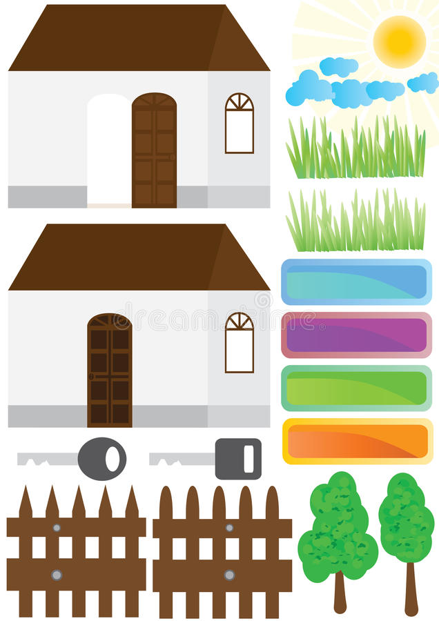 Estate House Home Outside Elements_eps royalty free illustration