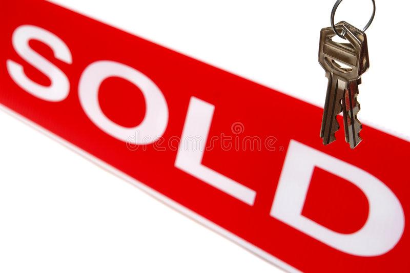 estate house keys real sign sold στοκ φωτογραφία