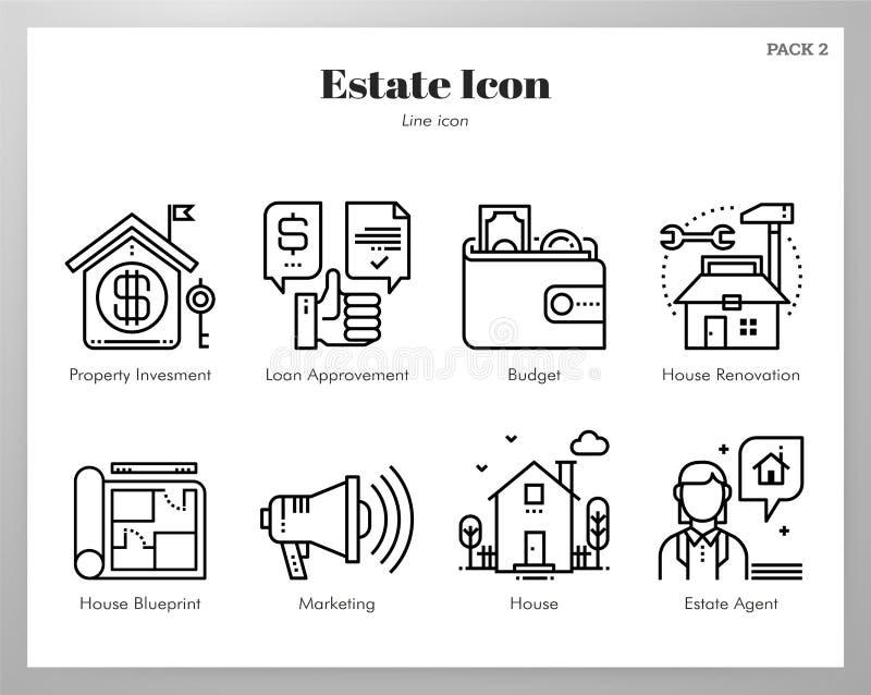 Estate icons Line pack royalty free illustration