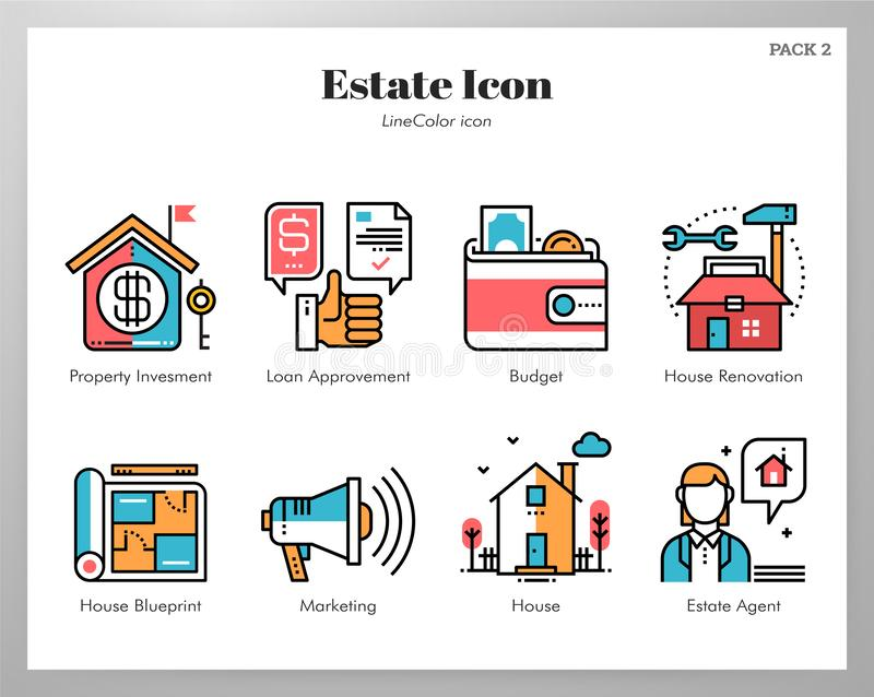 Estate icons LineColor pack stock illustration