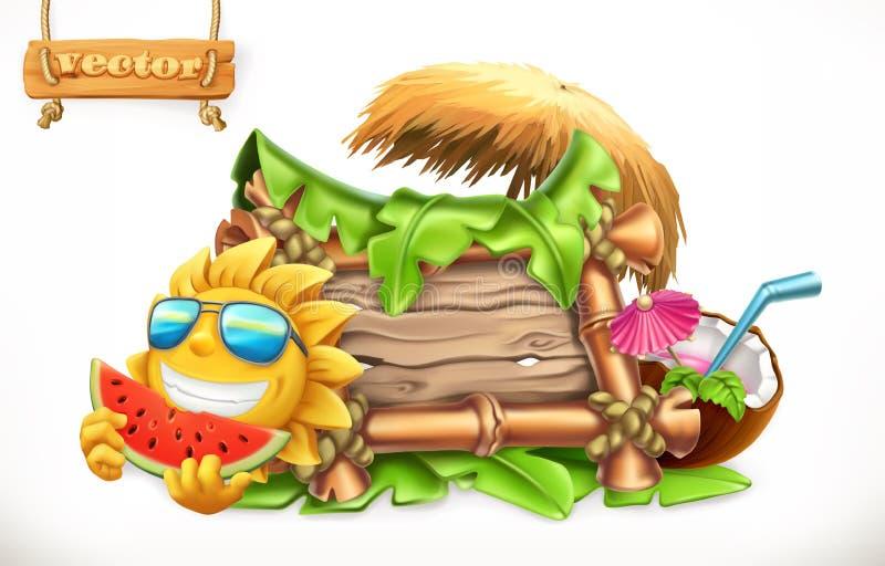 Estate Insegna di legno vettore 3d royalty illustrazione gratis