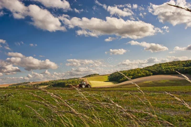 Estate nella Borgogna, giorno soleggiato di FranceBeautiful nei campi della Francia fotografia stock
