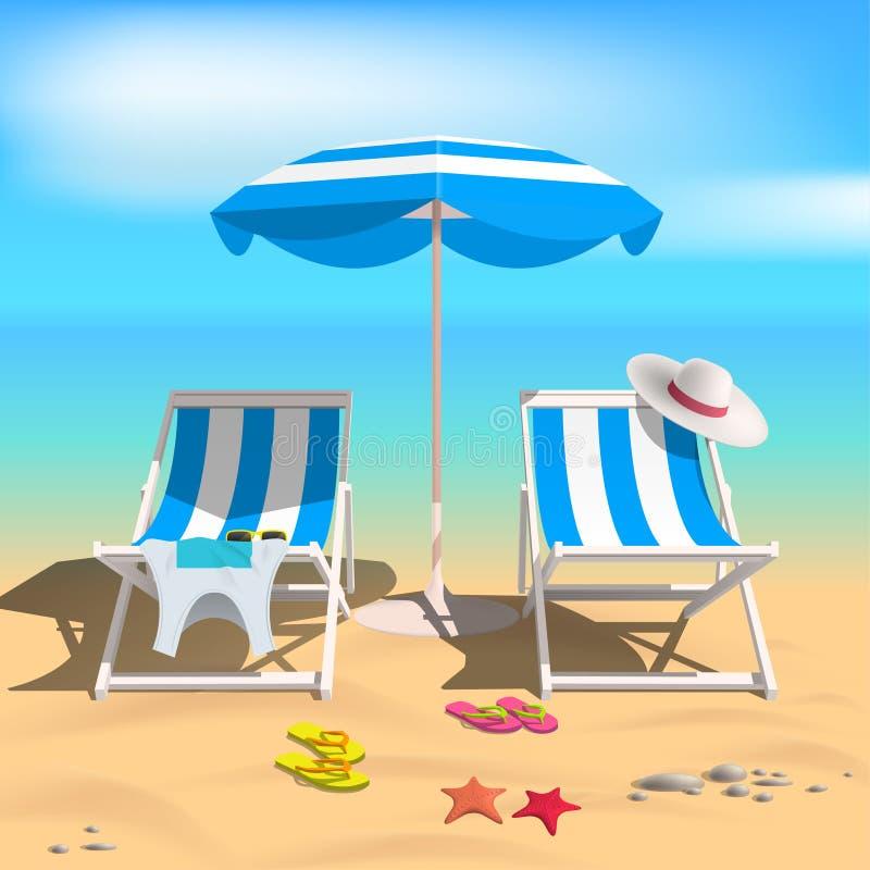 Estate Ombrello di spiaggia e dei Recliners Sea illustrazione vettoriale