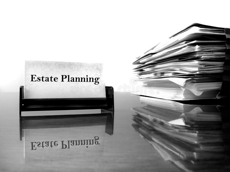 Estate Planning Business Card. On desk with files stock photo