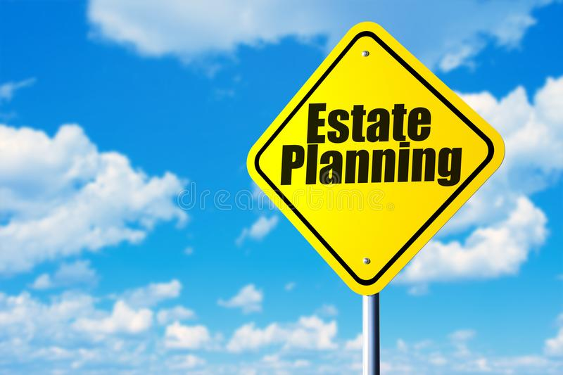 Estate planning. Road sign and blue sky stock image