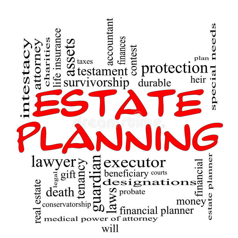 Estate Planning Word Cloud Concept in Red Caps. With great terms such as durable, will, financials, lawyer, executor, probate and more vector illustration
