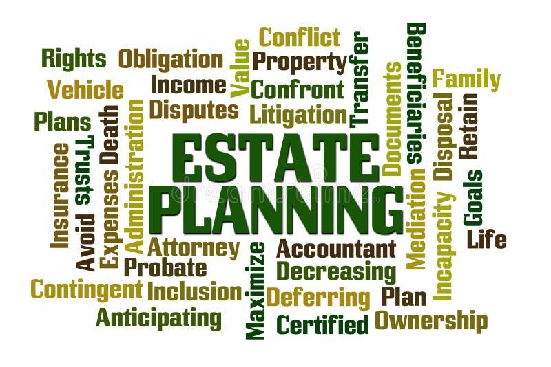 Estate Planning. Word cloud on white background stock illustration