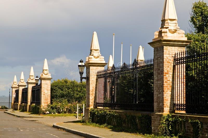 Estate security fence stock photo
