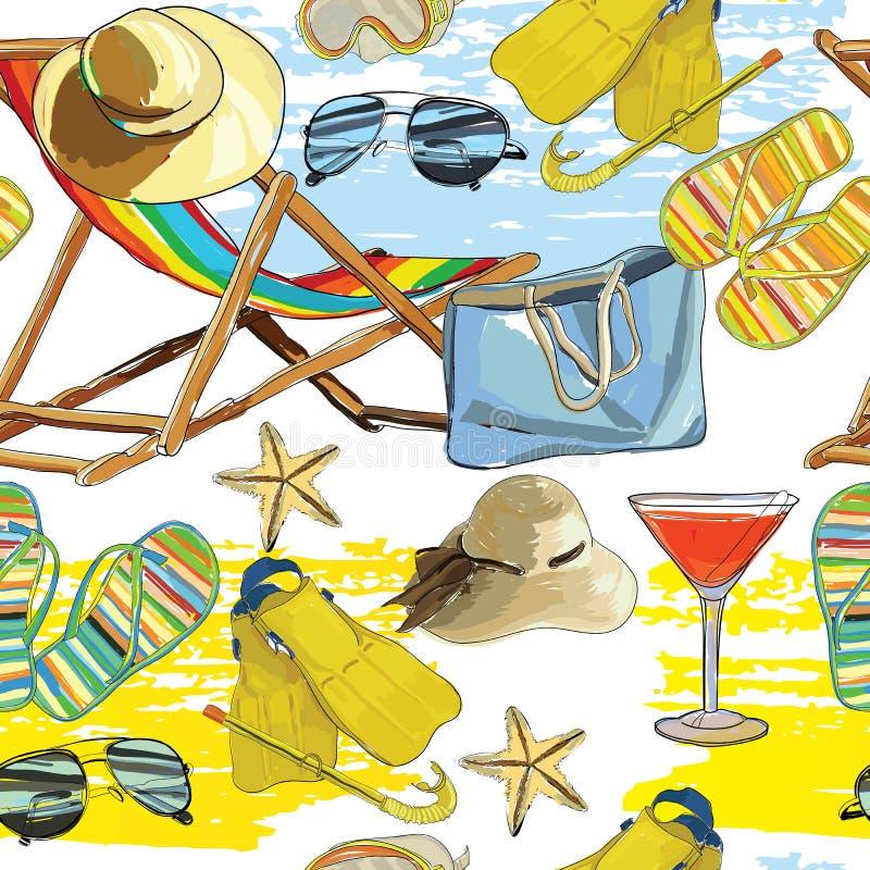 Estate senza cuciture del modello, recliner sulla sabbia con il cappello illustrazione di stock