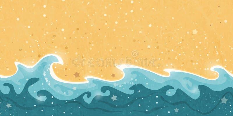 Estate senza cuciture, sabbia e confine dell'onda di acqua illustrazione di stock