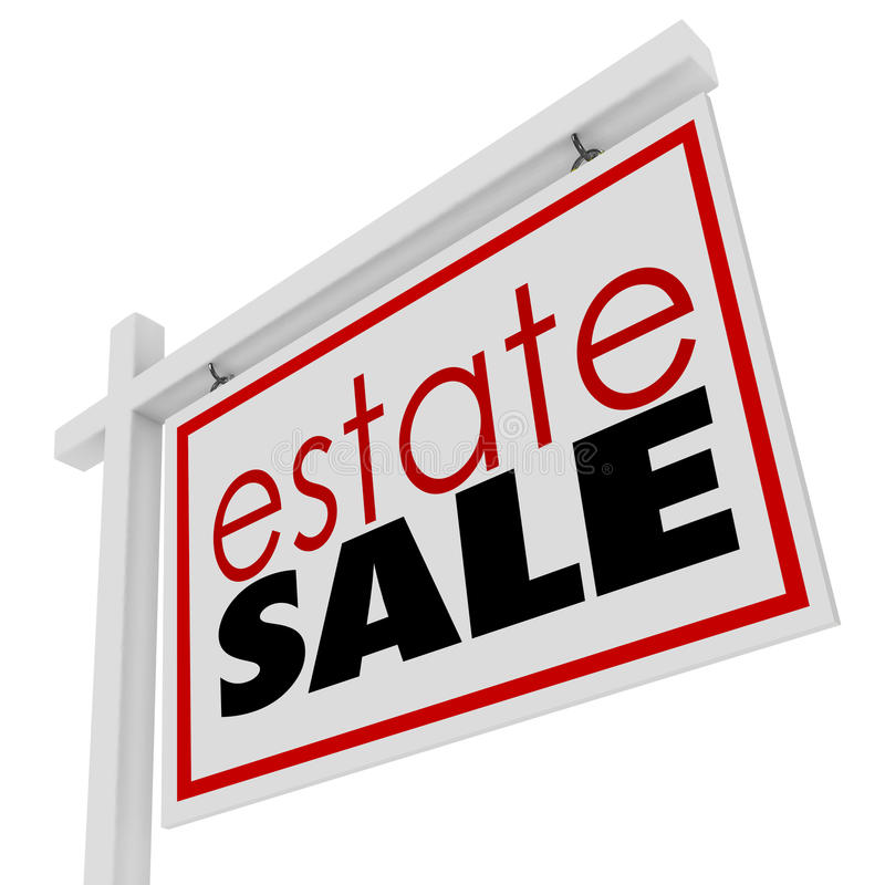 Estate Sign Homeowner Selling Possessions Inside House. Estate Sale words on a sign advertising the selling of a homeowner's possessions inside a house royalty free illustration