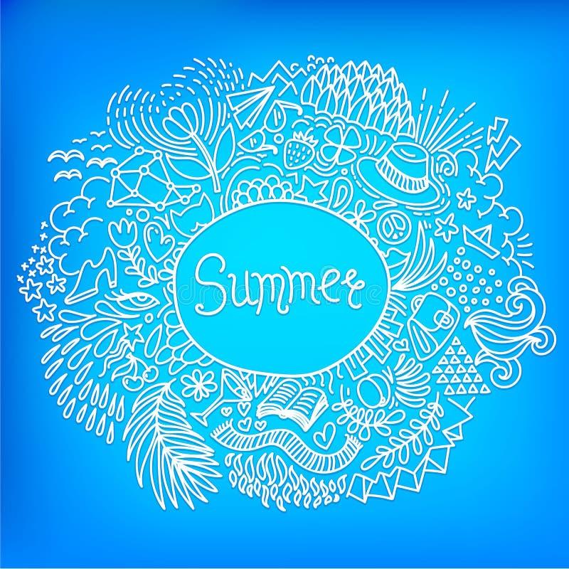 Estate Struttura di scarabocchio di forma rotonda fatta dell'ornamento a mano libera astratto su un fondo blu luminoso royalty illustrazione gratis