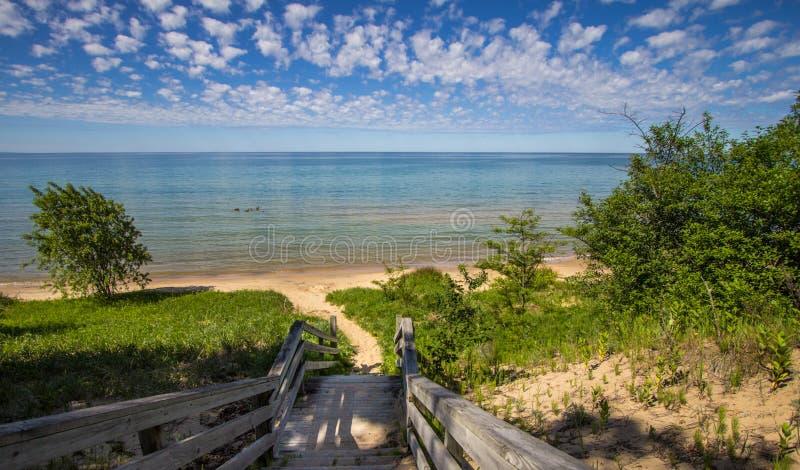 Estate sulle rive del lago Michigan immagini stock