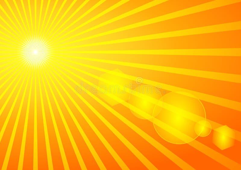 Estate Sun con il chiarore solare illustrazione di stock