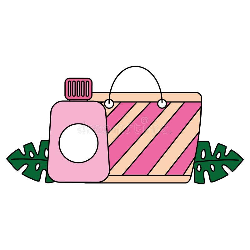 Estate tropicale della borsa e del sunblock della spiaggia illustrazione di stock