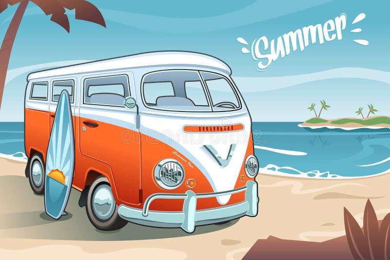 Estate Van sulla spiaggia illustrazione di stock