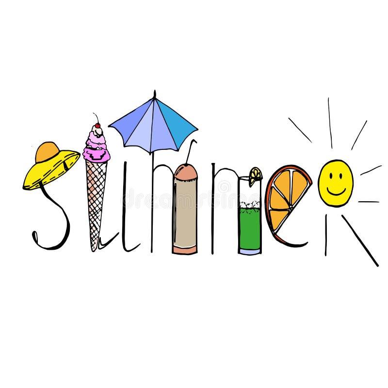 Estate variopinta con gli ombrelli che disegnano, logo di parola di divertimento del 'ÑŒ del ‡ Ð°Ñ di ПÐ?Ñ illustrazione di stock