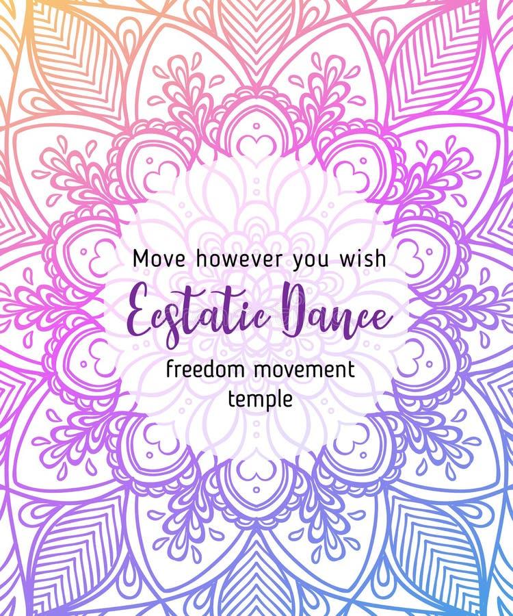 Free Estatic Dance. Yoga Card Design. Colorful Template For Spiritual Royalty Free Stock Photos - 114746188