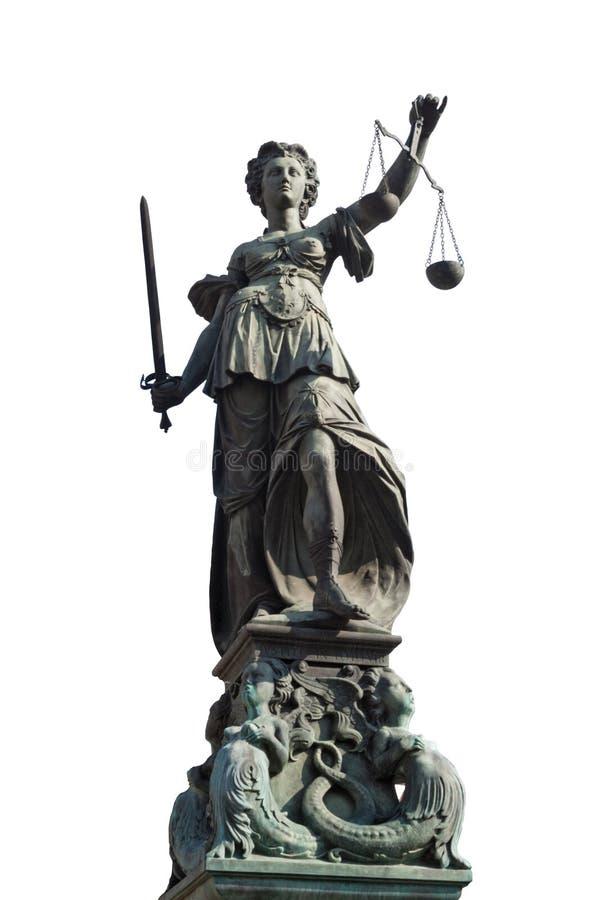 Estatua aislada de la justicia de la señora en Francfort fotografía de archivo