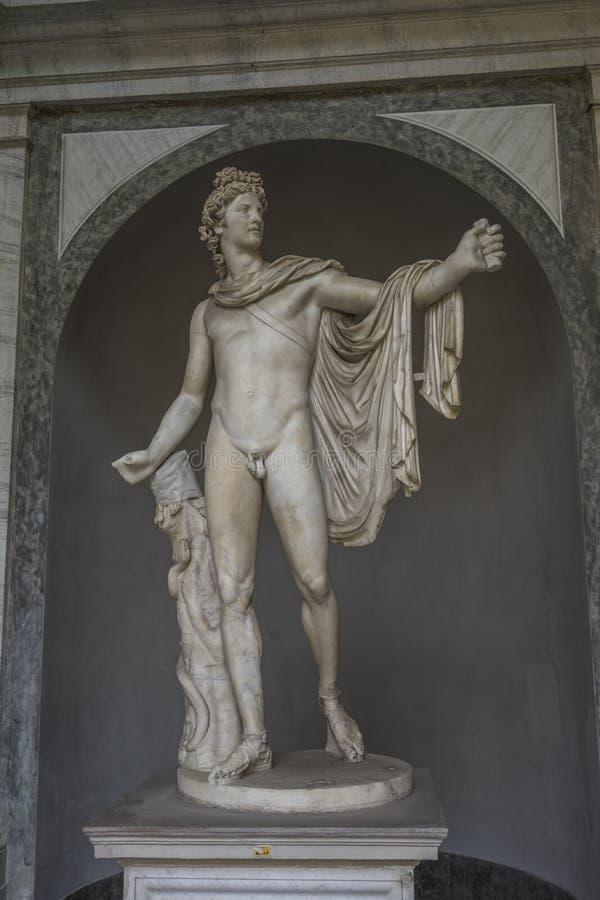 Estatua antigua Apollo Belvedere en el Vaticano, Italia Este sculptur fotografía de archivo libre de regalías