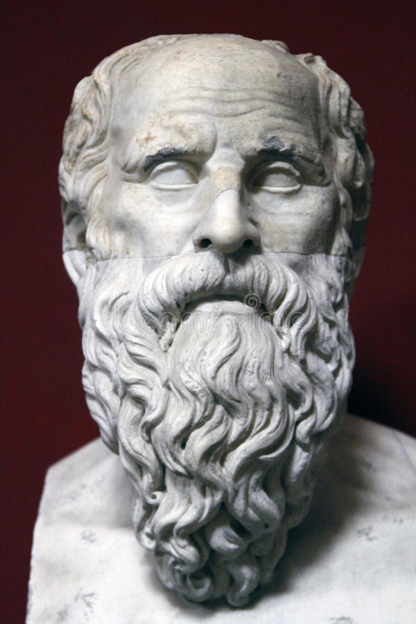 Estatua antigua del busto de Sócrates foto de archivo