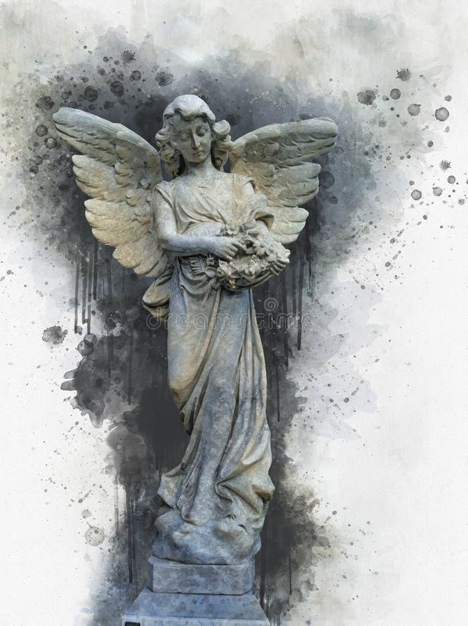 Estatua antigua del ?ngel en estilo de la acuarela stock de ilustración