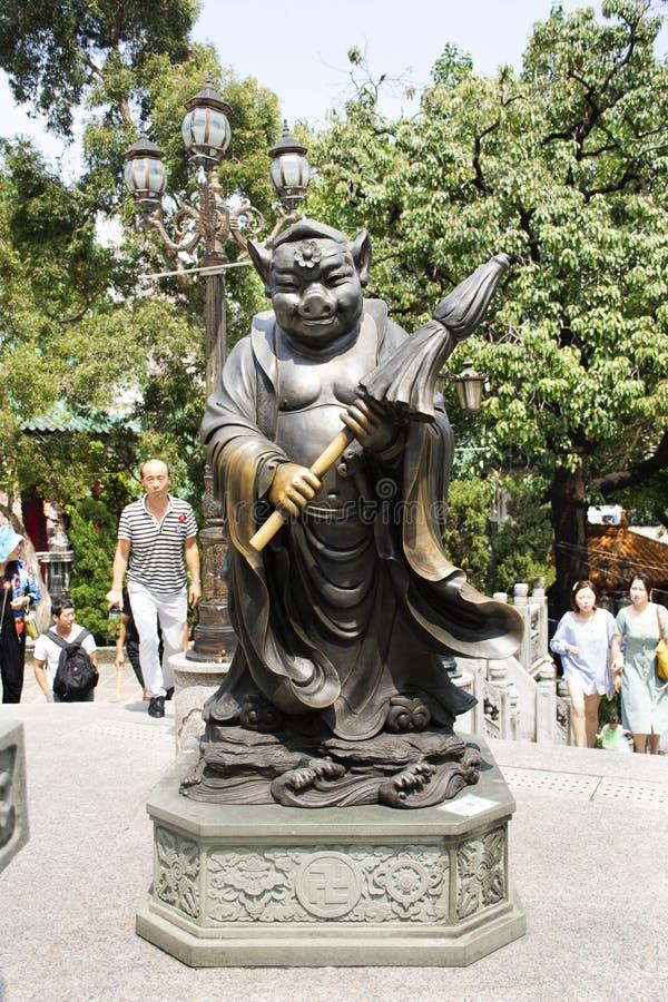 Estatua china del ángel del zodiaco doce tradicionales en Wong Tai Sin Temple en Kowloon en Hong Kong, China imágenes de archivo libres de regalías
