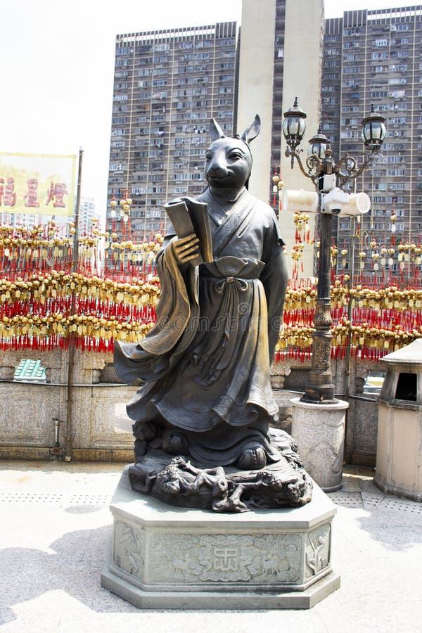 Estatua china del ángel del zodiaco doce tradicionales en Wong Tai Sin Temple en Kowloon en Hong Kong, China fotografía de archivo