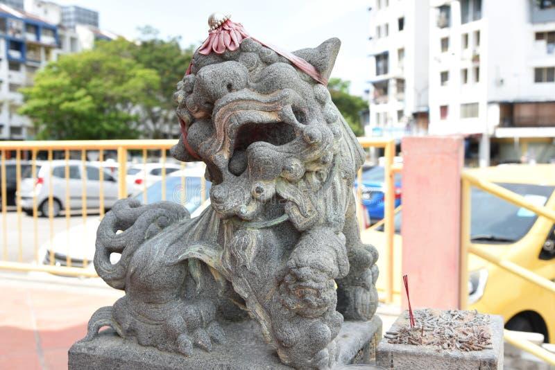 Estatua china del león fotografía de archivo