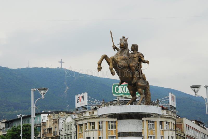 Estatua de Alexander el grande en Skopje fotos de archivo